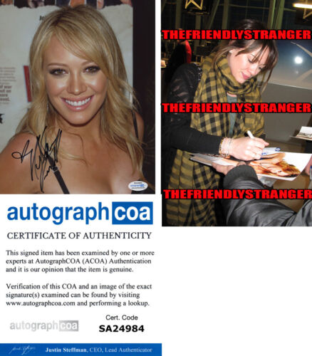HILARY DUFF signed Autographed 8X10 PHOTO - PROOF - SEXY Lizzy McGuire ACOA COA