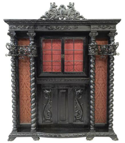 Hall Tree, Spanish Renaissance Revival Ebonized Oak, Barcelona, 20th C Beautiful