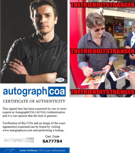 NATHAN FILLION signed Autographed 8X10 Photo PROOF a CASTLE The Rookie ACOA COA