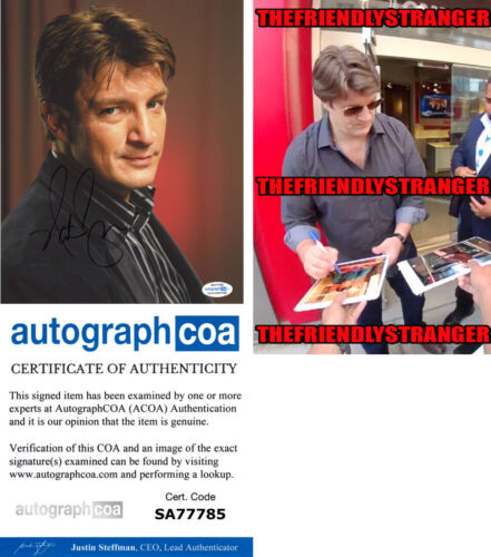 NATHAN FILLION signed Autographed 8X10 Photo PROOF b CASTLE The Rookie ACOA COA