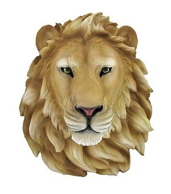 """African Lion Head Mount Wall Statue Bust Leo 16"""" Tall Figurine Plaque"""