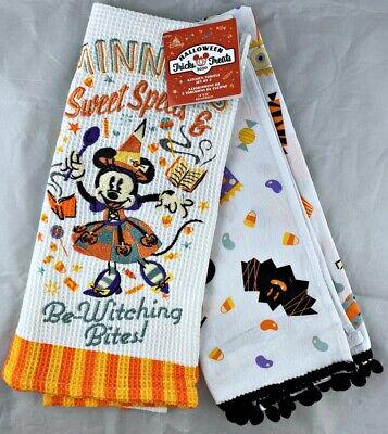 Disney Parks Halloween Tricks Treats 2020 Minnie Witch Kitchen Towels Set of 2