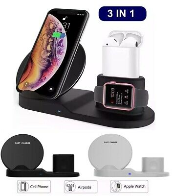 3in1 Qi Wireless Fast Charger Dock Stand For Apple Watch Airpods iPhone X Xs ()