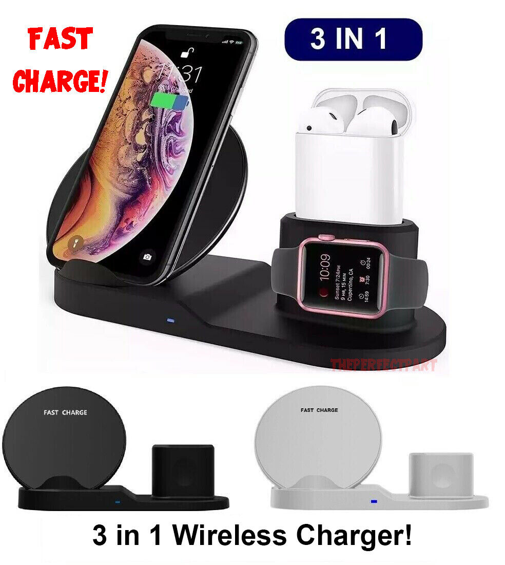 3in1 qi wireless fast charger dock stand