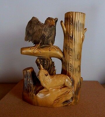 Vintage Ukrainian Carved wood Sculpture Wolf Eagle Tree trunk Vase 29cm tall
