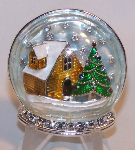 Christmas Tree Snowglobe Brooch/Pin-Glass Clear Rhinesotnes-Unique-Signed Napier