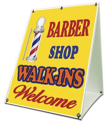 Barbershop Walkins Welcome Sidewalk A Frame 18x24 Outdoor Barber Shop Sign