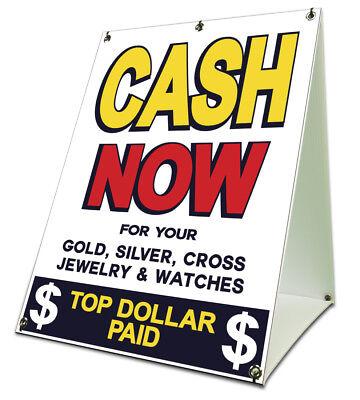 Cash Now Pawn Sidewalk A Frame 18x24 Outdoor Retail Sign