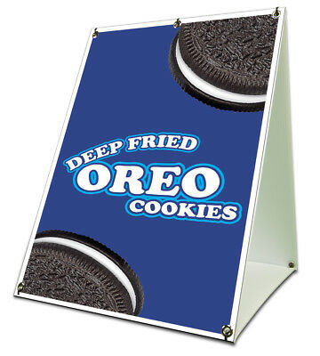Deep Fried Oreo Cookies Sidewalk Sign Retail A Frame 18x24 Concession