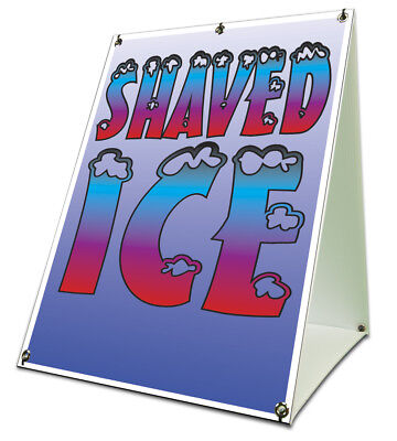 Shaved Ice Sidewalk Sign Retail A Frame 18x24 Concession Stand Outdoor Vinyl