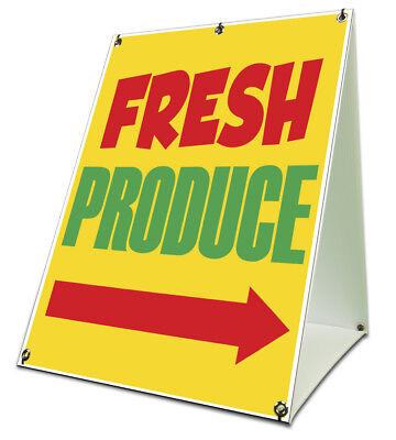 Fresh Produce Yellow Arrow Sidewalk A Frame 18x24 Outdoor Vinyl Retail Sign
