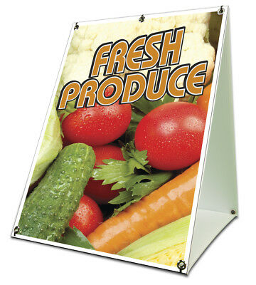 Fresh Produce Sidewalk Sign Retail A Frame 18x24 Concession Stand Outdoor