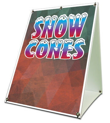 Snow Cones Sidewalk Sign Retail A Frame 18x24 Concession Stand Outdoor Vinyl