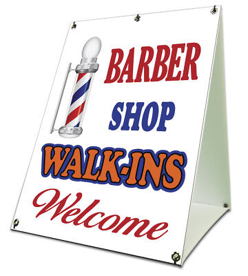 Barber Shop Walk-ins Sidewalk A Frame 18x24 Outdoor Retail Sign