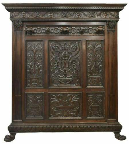 Antique Hall Tree, Italian Renaissance Revival Carved Walnut, Early 1900s!!