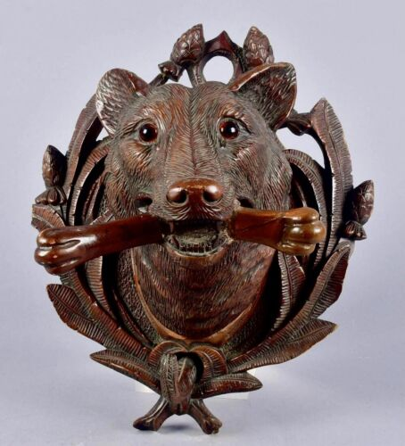 Black Forest Dog / Wolf Wall Plaque Coat hook