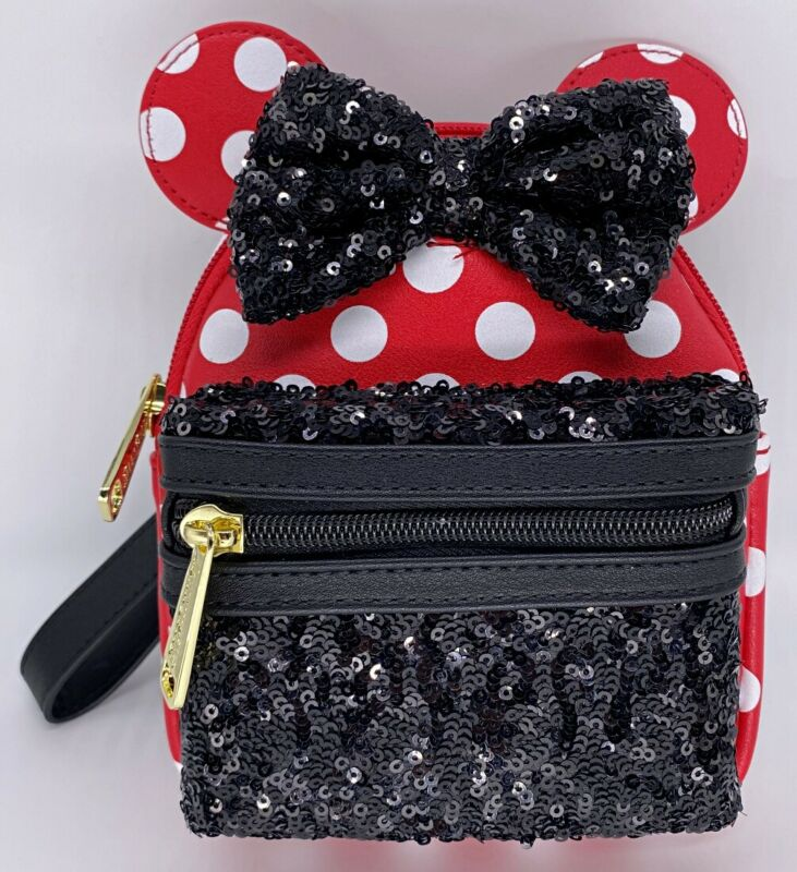 Disney Parks Minnie Mouse Black Bow Polka Dot Sequin Loungefly Backpack Wristlet