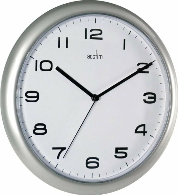 Acctim Aylesbury Silver Wall Clock 255mm Simple Cost Effective Student Room