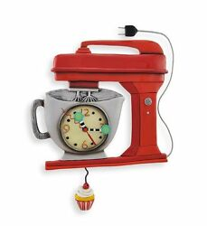 Allen Designs Red Vintage Mixer Pendulum Childs Kids Whimsical Wall Clock