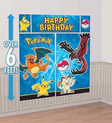 Pokemon Pikachu Scene Setter Happy Birthday Wall Decoration Banner Party Supply - Pokemon Party Supplies
