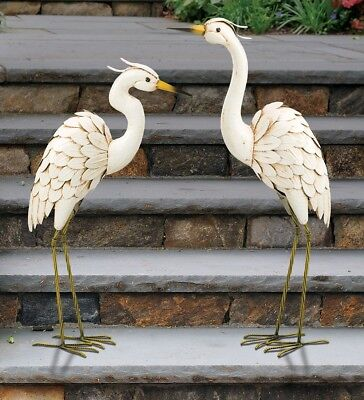 Snowy Egret Pair Metal Garden Decor Statues Bird Yard Sculpture Ibis Heron Crane