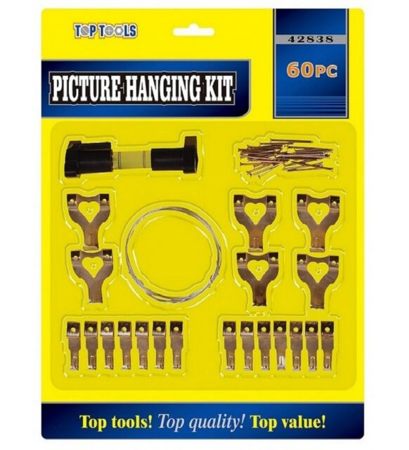 60 Picture Hanging Kit Mirror Photo Frame Hooks Brass Nail Level Wire Set Wall