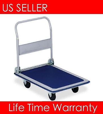 T01 Platform 330lbs Cart Folding Dolly Foldable Push Hand Truck Moving Warehouse