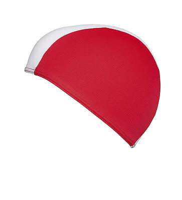 Fashy Herren-Badekappe Badehaube Stoffhaube rot-weiß 3241 04 kurze Form