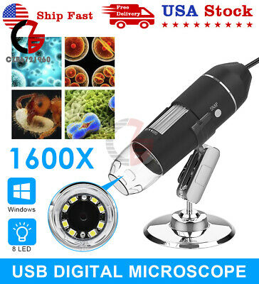 1600x 8 Led Usb Digital Microscope Endoscope Zoom Camera Magnifier With Stand Us