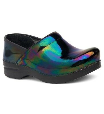 Dansko PROFESSIONAL PETROL PATENT Womens Leather Slip On Comfort Clogs Shoes (Leather Womens Clog)