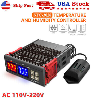 Stc-3028 Ac110v-220v Digital Temperature Humidity Controller Thermostat 1m Probe