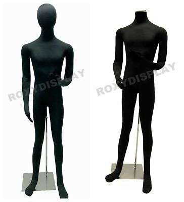 Male Full Body Poseable Mannequin Black Jersey Covered Body Form Jf-m02softx