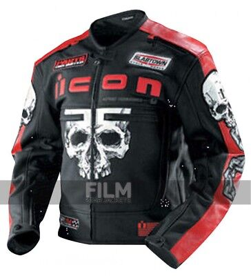 ICON REPRESENT SKULL MOTORCYCLE LEATHER JACKET (3XL)