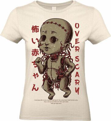 Scary Puppe T-Shirt Halloween Gruselig Horror Gothic Damen T-Shirt Damen