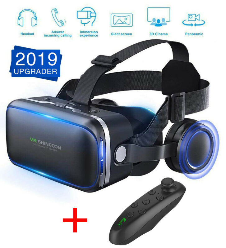 3D VR Headset Version Virtual Reality Glasses Remote Controller For iPhone 7 8 X