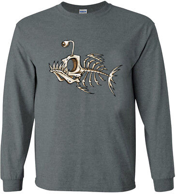 Fish Bones T-shirt Long Sleeve Tee Graphic Decal Fishing Gifts for Men