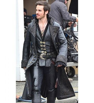 Once Upon A Time Hook Halloween Costumes (Once Upon A Time Captain Hook Costume Leather Coat - Halloween Costume)