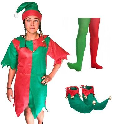 ELF COSTUME SANTA'S LITTLE HELPER LADIES FANCY DRESS PIXIE XMAS ADULT OUTFIT](Little Pixie Clothes)