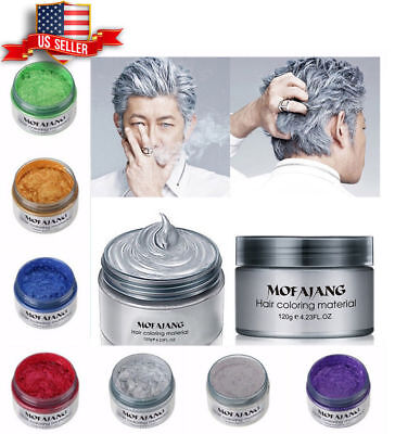 Unisex DIY Hair Color Wax Mud Dye Cream Temporary Modeling White Color Mofajang](White Hair Dye Temporary)