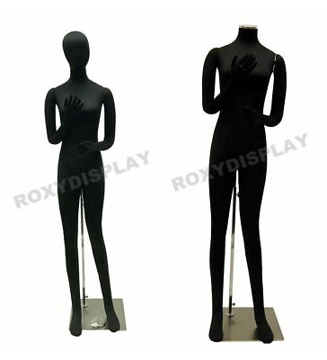 Female Full Body Poseable Mannequin Form Black With Flexible Parts Jf-f02softx