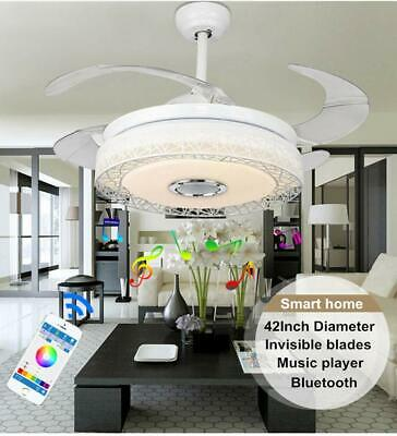 "42"" Smart Ceiling Fan Light Bluetooth Music Player LED Chandeliers..."