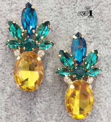 New Yellow Crystal Ancient Gold Long Ear Stud Hoop tassels Pineapple (Crystal Gold Tassels)