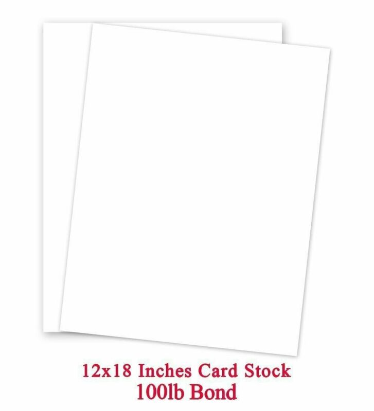 """12 x 18"""" White Card Stock - Heavyweight 100lb Cover (270gsm) - 250 Sheets"""
