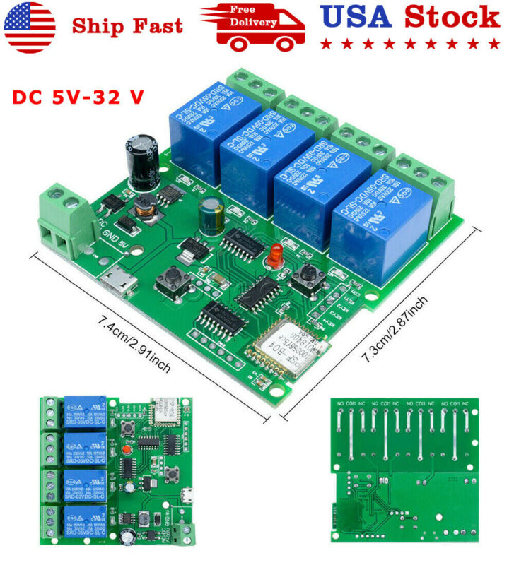 DC 5-32V 4 Channel self-lock Smart Switch WiFi Wireless Relay Module APP Control