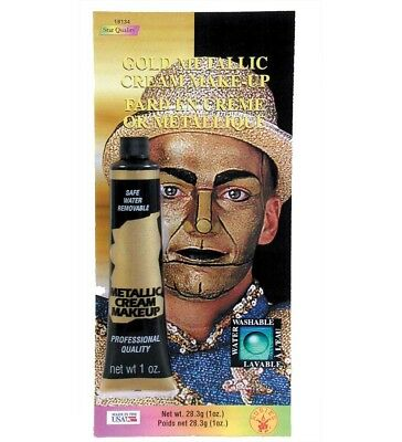 Gold Metallic Cream Makeup Tin Man Shiny Halloween Costume Water - Manly Halloween Makeup