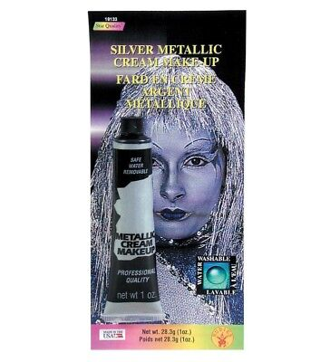 Silver Metallic Cream Makeup Tin Man Shiny Halloween Costume Water - Manly Halloween Makeup