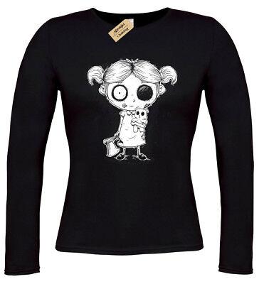 Zombie Mädchen Damen T-Shirt Gotik Langärmlig Halloween Burton Gespenstisch