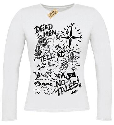 Treasure Map T-Shirt Womens Pirate long sleeve ladies top