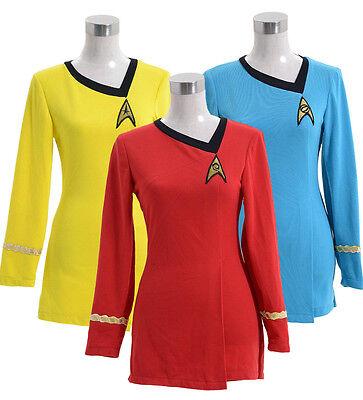 Star Trek TNG Uhura Duty Red/Yellow/Blue Uniform Dress Halloween Cosplay Costume