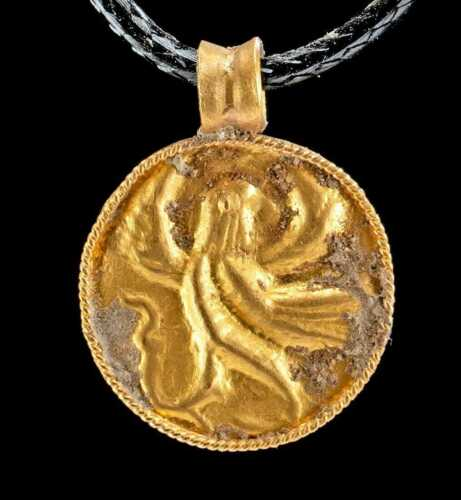 Achaemenid ancient 23k+ Gold Pendant w/ Avian